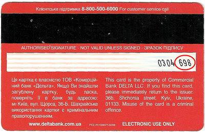 зворотна сторона платіжної картки